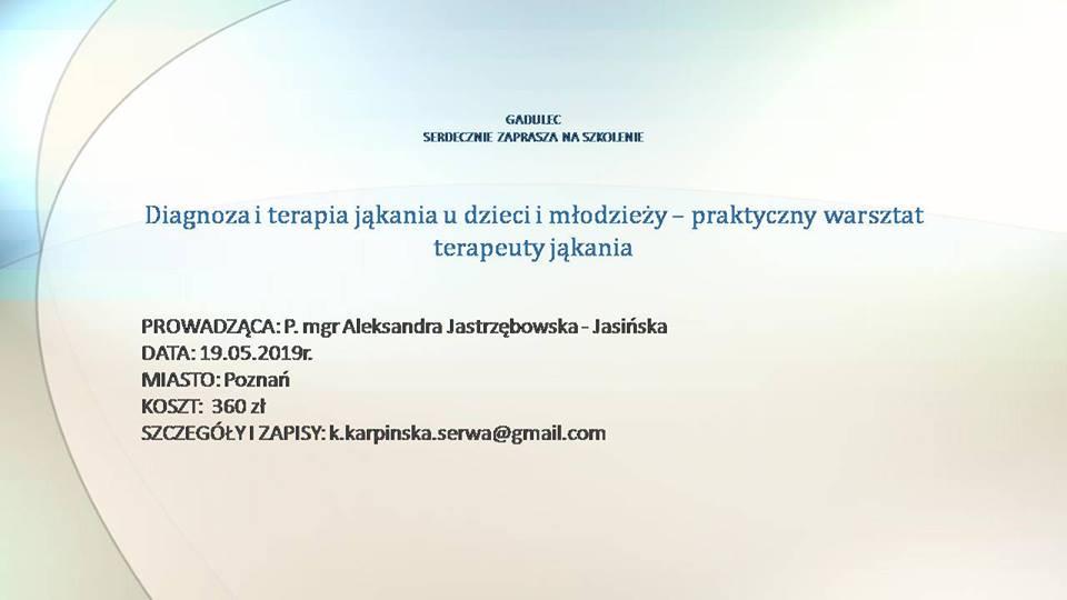Szkolenie w Poznaniu: Diagnoza i terapia jąkania u dzieci i młodzieży – praktyczny warsztat terapeuty jąkania