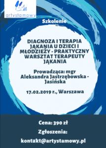 Szkolenie w Warszawie: Diagnoza i terapia jąkania u dzieci i młodzieży – praktyczny warsztat terapeuty jąkania (17.02.2019)