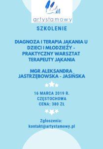 Szkolenie w Częstochowie: Diagnoza i terapia jąkania u dzieci i młodzieży – praktyczny warsztat terapeuty jąkania