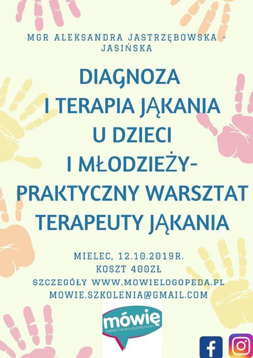 Szkolenie w Mielcu: Diagnoza i terapia jąkania u dzieci i młodzieży – praktyczny warsztat terapeuty jąkania (12.10.2019)