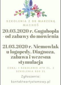 Szkolenia z dr Marzeną Machoś: Guguhopla i Niemowlak u logopedy