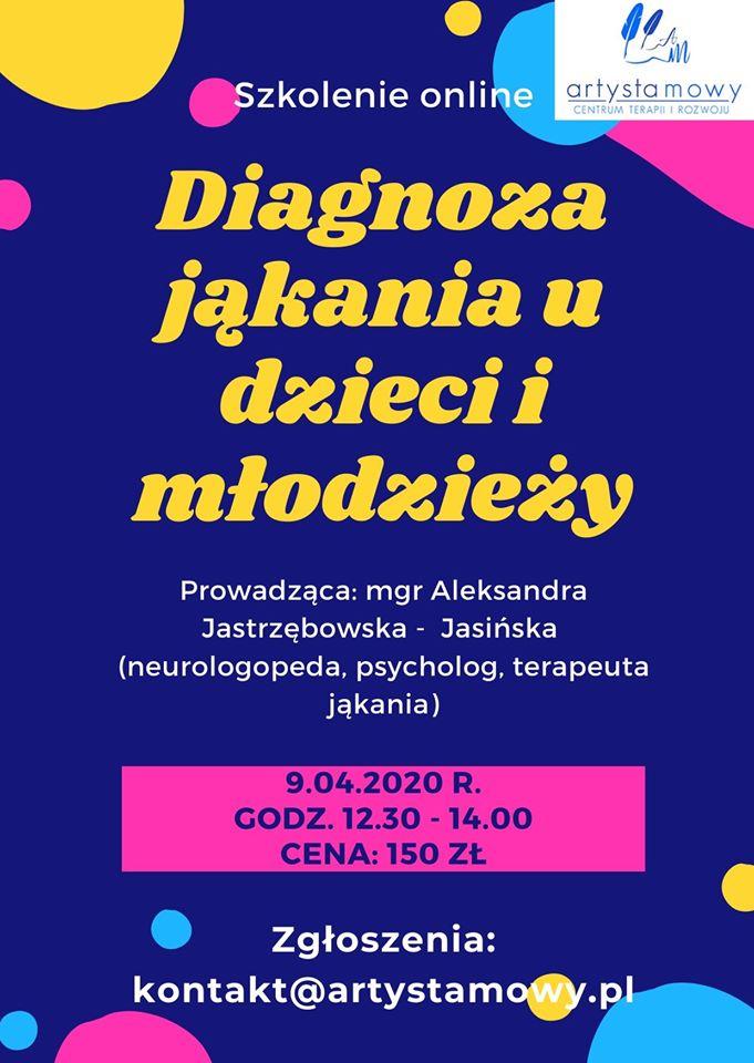 Diagnoza i terapia jąkania u dzieci i młodzieży (9.04.2020)
