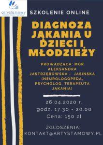 Diagnoza i terapia jąkania u dzieci i młodzieży (26.04.2020)